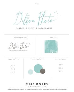 Logo, Branding and Graphic Design Elements for Dillon Photo. www.etsy.com/... www.facebook.com/... Designed by Miss Poppy Design. Brand. Business. Watercolour. Turquoise. Ocean. Calligraphy.
