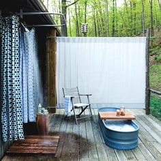 Have dreamed of this!  On or off the grid, I want the tub.  Outdoor bath.