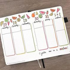 If you've been thinking about having a fruit themed spread in your bullet journal, you need this 25 journal spreads for inspiration! August Bullet Journal Cover, Bullet Journal Monthly Spread, Bullet Journal 2020, Bullet Journal Aesthetic, Bullet Journal Notebook, Bullet Journal Layout, Bullet Journal Inspiration, Bullet Journals, Bujo