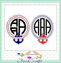 Rope and Anchor monogram SVG cuttable file, Instant Download SVG, DXF, Eps,png Silhouette Studio and Cricut Design Space. by JenCraftDesigns on Etsy