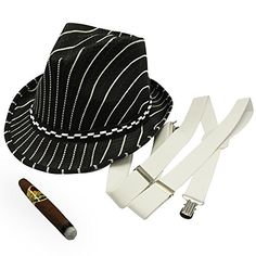 20s Gangster Costume Hat Toy Cigar White Suspenders By F