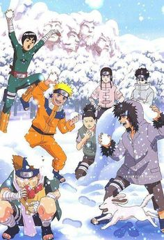 Haha… Konoha's boys are having fun with the snow in winter :))) ♥♥♥  Naruto, Shikamaru, Kiba, Neji, Lee, Choji, Shino #Cute #Beautiful #Bonds #Funny
