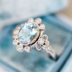 Something old something new something borrowed something blue...any lucky bride with this beauty on her finger certainly has the blue covered. What a fabulous gem from @clairepettibone #Repost @trumpetandhorn ・・・ Now THAT'S how to rock an aqua :