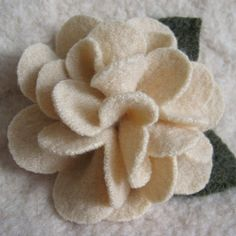 recycle wool sweaters  | Vanilla Peony Recycled Wool Sweater Brooch by FeltSewGood on Etsy