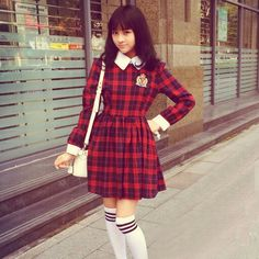 a957f06a818 Plaid longsleeve dress w  over the knee socks Syndrome store