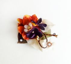 fall wedding hair accessories, burnt orange hair clip, eggplant flower, bridal hairpiece - TWIGLET - rustic wedding, purple hair flower on Etsy, $35.00