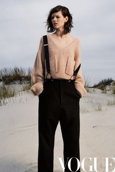 Freja Beha Erichsen Wears Fall Styles at the Beach for Vogue China