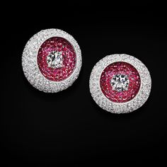 de GRISOGONO Unique High Jewellery earrings in white and pink gold set with white diamonds and rubies Ruby Jewelry, Ruby Earrings, I Love Jewelry, High Jewelry, Stone Earrings, Photo Jewelry, Stone Jewelry, Diamond Jewelry, Gold Jewelry