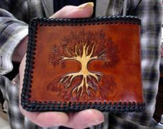 Wallet / Men /  Celtic / Norse / Tree Of Life / Bi Fold / Hand Carved and Tooled / Leather / Norse / Viking / Hand Crafted / Mans Wallet