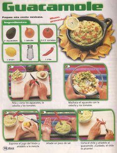 La receta del Guacamole para acompañar nachos, tacos, fajitas,..