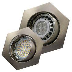 LED Einbaustrahler 6-eckig 12V oder 230V schwenkbar, Edelstahl gebürstet #SK3
