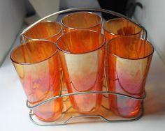 Retro Vintage Carnival Glass Set