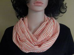 Infinity Scarf, Orange, White, Striped, Gift For Her, Shawl, Boho, All Seasons, Spring, Summer, Loop Scarf, Circle Scarf, Free Shipping by TerriRDesigns on Etsy