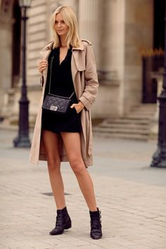hey i could digg this. nice contrast in the shortie short dress and the longer trench coat