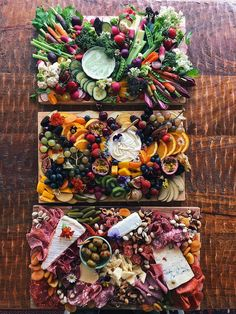 A grazing board for everyone! I've made three different boards: crudités with a creamy herb dip, fruit board with honey & clotted cream dip and a meat/cheese board