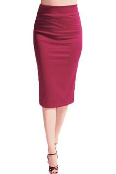 Azules Women's Ponte Roma From Office Wear to Below Knee Pencil Skirt