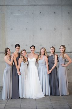 Get Swept Away by a Modern, Waterfront Wedding – Style Me Pretty Grey Bridesmaids, Mismatched Bridesmaid Dresses, Bridesmaid Dress Colors, Wedding Bridesmaid Dresses, Bridesmaid Ideas, Grey Bridal Parties, Waterfront Wedding, Lakeside Wedding, Gray Weddings