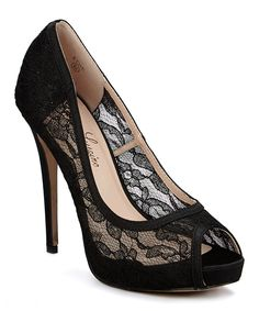 Look at this #zulilyfind! Lauren Lorraine Black Sheer Lace Edie Peep-Toe Pump by Lauren Lorraine #zulilyfinds