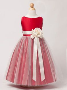 Red flower girl dress with white tulle overlay