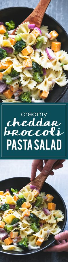 A sweet and tangy dressing makes this quick, easy, and tasty creamy cheddar broccoli salad a huge hit wherever it goes. Pasta Recipes, Salad Recipes, Dinner Recipes, Cooking Recipes, Pasta Dishes, Food Dishes, Broccoli Pasta Salads, Macaroni Salads, Vegetarian Recipes