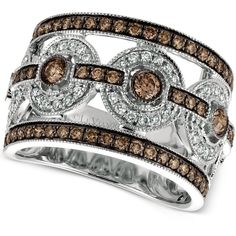 Le Vian Chocolatier Chocolate Deco Estate Diamond Ring (1-1/4 ct. ($2,860) ❤ liked on Polyvore featuring jewelry, rings, white gold, 14k white gold ring, diamond jewelry, chocolate diamond rings, statement rings and white gold rings