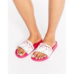 Slydes Flamingo Slider Sandal (190 SEK) ❤ liked on Polyvore featuring shoes, sandals, pink, patterned shoes, pink shoes, print shoes and pink sandals