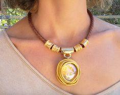 Statement necklace Black necklace Leather by danielapalatnik