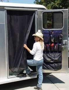 screen door for tack room-keep flies out! -- Or for tailgate/jockey doors. Horse Camp, Horse Gear, Horse Tips, My Horse, Horse Love, Livestock Trailers, Horse Trailers, Horse Trailer Organization, Equestrian Outfits