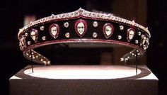 Info: Tiara from Queen Marie of Romania  Creator: Cartier  Stone(s): Diamond, Ruby  Metal: Blackened Steel, Platinum