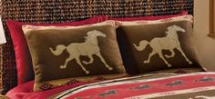 Collections Etc - Western Horse Bedroom Pillow Shams Lace Curtain Panels, Lace Curtains, Pink Bed Sheets, Cowgirl Bedroom, Westerns, Western Bedrooms, Star Stencil, Upholstery Tacks, Collections Etc