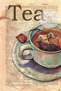 """An art studio must always be equipped with a hot cup of tea! (""""Tea"""" Mixed Media Drawing on Distressed, Dictionary Page - flying shoes art studio by Tee Kunst, Dictionary Art, Tea Art, Shoe Art, Pics Art, Art Plastique, Medium Art, Art Journals, Mixed Media Art"""