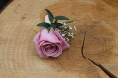 Gents Dusky Rose buttonhole with Gypsophila and Eucalyptus