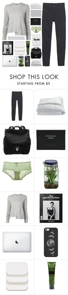 """""""there's no turning back now."""" by annamari-a ❤ liked on Polyvore featuring Monki, Frette, Proenza Schouler, Acne Studios, Cosabella, Alöe, Casetify, COVERGIRL, Aesop and Crate and Barrel"""