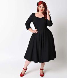 1950s Plus Size Dresses Plus Size 1950s Vintage Style Black Quarter Sleeve Serena Stretch Swing Dress $103.00 AT vintagedancer.com