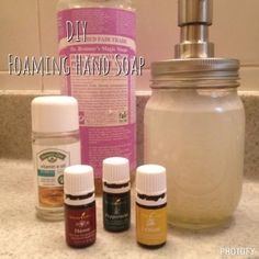 diy foaming hand soap -- Naturally Oily | Adventures in Living a Natural Lifestyle Diy Hand Soap Recipe, Liquid Hand Soap, Dishwashing Liquid, Natural Lifestyle, Young Living, Soap Dispenser, Essential Oils, Hands, Soaps