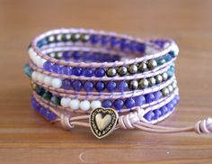 Bohemian beaded leather wrap bracelet, gemstones, pyrite, jade, opalite, white, purple, trendy artisan jewelry, boho chic, hipster, heart