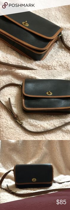 Vintage Coach Black & Brown Leather Crossbody Bag Vintage Coach no 0231-941 Condition: Vintage, Good as pictured Exterior : few signs of wear Interior: few signs of wear Coach Bags Crossbody Bags