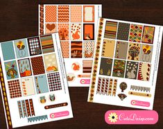 Free printable Thanksgiving Planner Stickers for Happy Planner and Erin Condren Life Planner boxes.