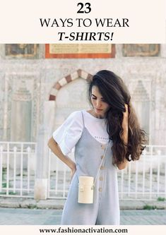 T-shirt outfits! I think, this is the most common thing that we wear at hot summer days! Because it is really easy to combine t-shirts with basic clothes. T Shirts With Sayings, Fashion Ideas, Fashion Trends, Fashion Outfits, Shirt Outfit, Cool T Shirts, Cotton Fabric, Summer Outfits, T Shirts For Women