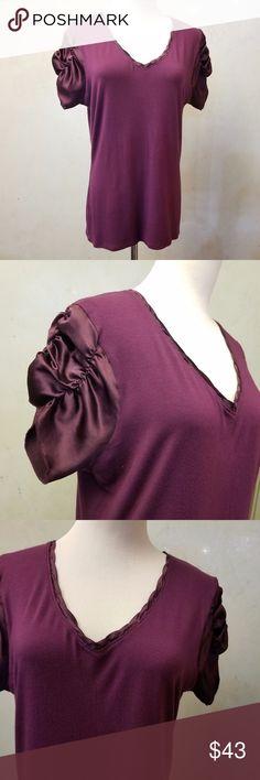 Tahari  purple silk sleeve top in perfect condition Tahari silk short sleeve top Tahari Tops Tees - Short Sleeve