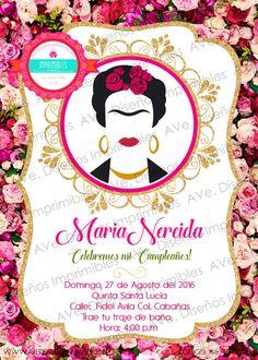 Frida Kahlo Invitaciones Fondo Flores por AVeDisenoImprimible