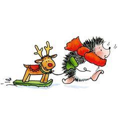 hedgehog with reindeer pulltoy