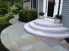 Curving Bluestone Walkway with Radius Granite Steps - contemporary - landscape - boston - Natural Path Landscaping