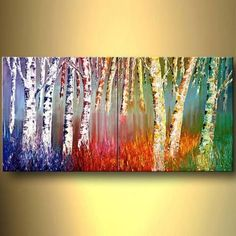 Blue, yellow, green orange pop art, inspired by birch trees - this abstract modern art piece is hand painted, framed and comes in 1 piece. Pintura Graffiti, Colorful Trees, Art Abstrait, Tree Art, Amazing Art, Abstract Art, Abstract Paintings, Abstract Landscape, Paintings Of Trees