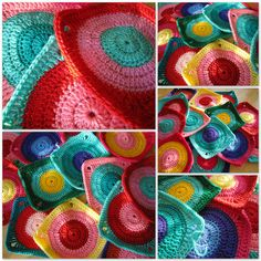 I love the Mod look of this color scheme and stitch! Are those all hdc?  How did she do it?  I am not great with the granny squares yet.