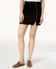 Free People This Way Or That Cotton Zip Mini Skirt - Black 12