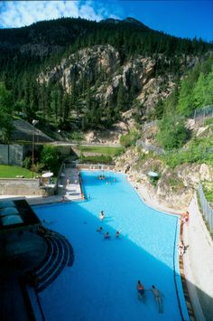 Largest Hot Springs in Canada: the Radium Hot Springs in beautiful Kootenay National Park. @Stacey Reese-George Radium @Don Canada Jr (Canadian Tourism Commission)   #hotsprings #ExploreCanada #BC www.hotsprings.ca
