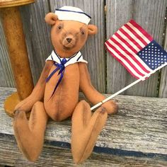 Plush Sailor Bear-Americana Teddy Bear-4th July Teddy Bear by CottonPickingFolkArt on Etsy