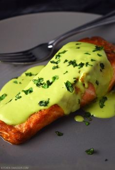 Pan-Seared Salmon with Creamy Avocado Sauce