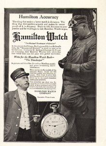 Hamilton Pocket Watches were widely used in the railroad industry.